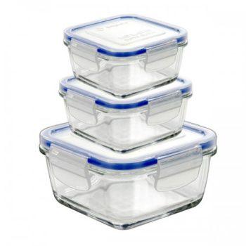 Ételtároló üvegből 14,3x14,3x5,0cm 0,8L KÖZEPES 14070220