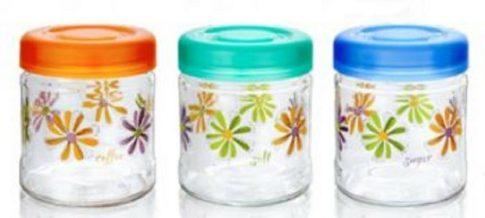 Fűszertartó üvegből 850 3db Delice Tris. virágos 04331975N