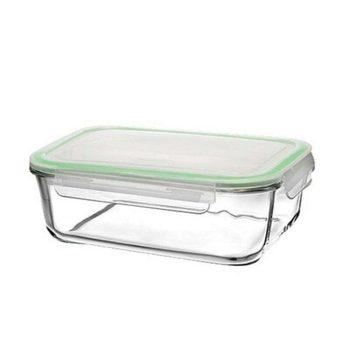 Ételtároló üvegből 0,78L 6,0x17,8x12,6cm szilikonos műanyag fedővel 59564