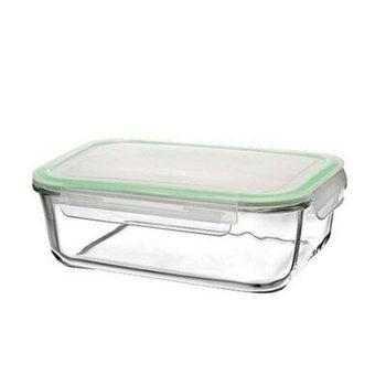 Ételtároló üvegből 3,35L 9,5x26,5x20,1cm szilikonos műanyag fedővel 1074044