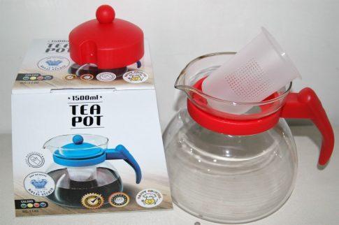 Teáskanna 1,5L üveg/PP fedéllel és szűrővel Happy Cooking RS-1149