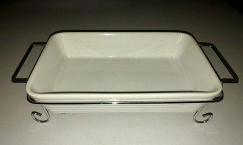 Sütőtál Porcelán szögletes inox tartóval 37x21x5,0cm /MÁSOD OSZTÁLY/