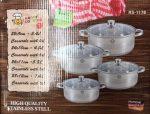 Edénykészlet 8r. RS RM mértékjeles, üveg fedővel Happy Cooking RS-1178