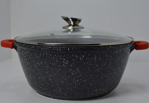 Lábas HC márvány bev. 8,9L 32x14cm üveg fedővel Happy Cooking RS-1200