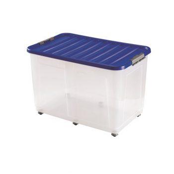 Tároló doboz H CLIPBOX 80x50x50cm 150L gurulós, zár.tetővel 1618