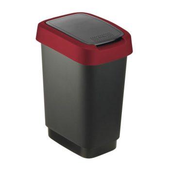 Szemetes billenős R 10L 24,8x18,1x33cm TWIST Fekete/Piros 1754302255 KIF