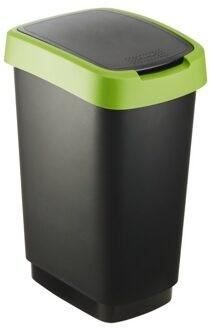 Szemetes billenős R 10L 24,8x18,1x33cm TWIST Fekete/Zöld 1754305519 KIF