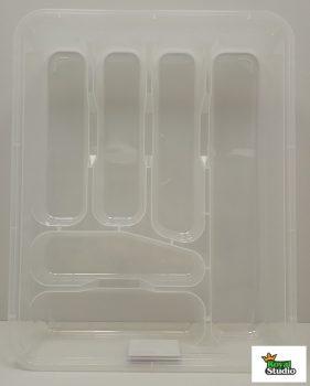 Evőeszköztartó fiókba nagy 38,6x31,2x7,0cm színes átlátszó 14006