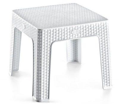 Asztal 44x44x41cm Rattan FEHÉR HS-700