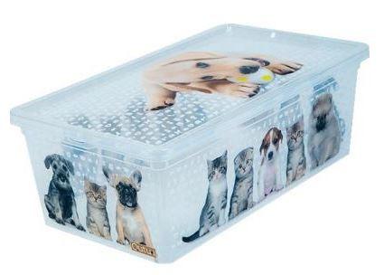 Tároló doboz Q 5,0L 19x33,5x11,5cm Cats & Dogs M