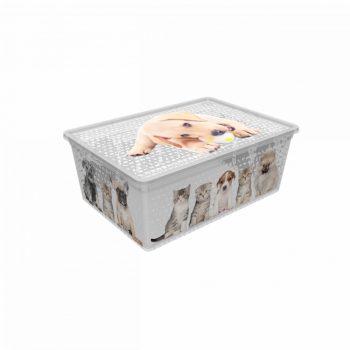 Tároló doboz Q  10L 26x37x14cm Cats & Dogs L