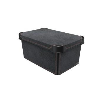Tároló doboz Q 5,0L 19x28,5x13,5cm  BLACK LEATHER M