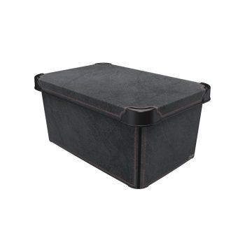 Tároló doboz Q  10L 23x34,5x16cm BLACK LEATHER L
