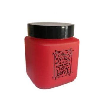 Fűszertartó üvegből 1,0L Szögletes Love-Piros 147010-121