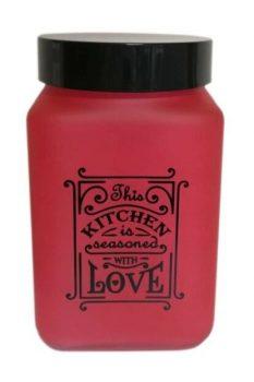 Fűszertartó üvegből 1,5L Szögletes Love-Piros 147015-121