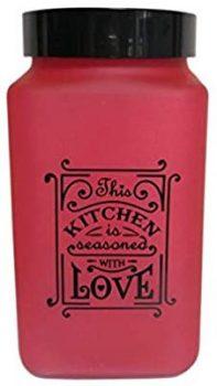 Fűszertartó üvegből 2,0L Szögletes Love-Piros 147016-121