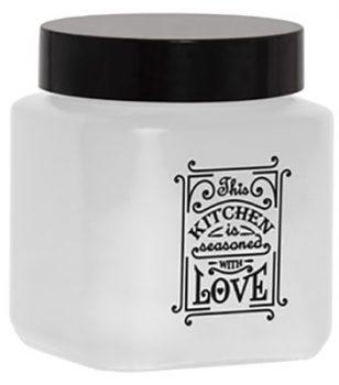 Fűszertartó üvegből 1,0L Szögletes Love-Fehér 147010-803