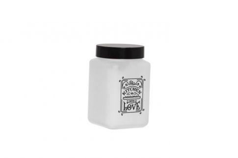 Fűszertartó üvegből 1,5L Szögletes Love-Fehér 147015-803