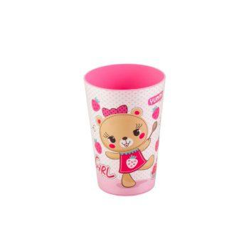 Pohár Műanyag 340ml Rózsaszín maci 161910-004