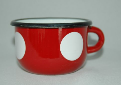 Zománcozott kávéscsésze Piros pöttyös Happy Cooking 0,25L RS-1205
