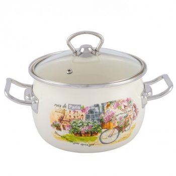 Zománcozott lábas fedővel Paris Happy Cooking 2,5L RS-1285