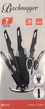 Kés készlet 7r. márvány bev. FEKETE BACHMAYER BM-313